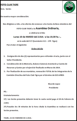 Convocatoria Asamblea Ordinaria.