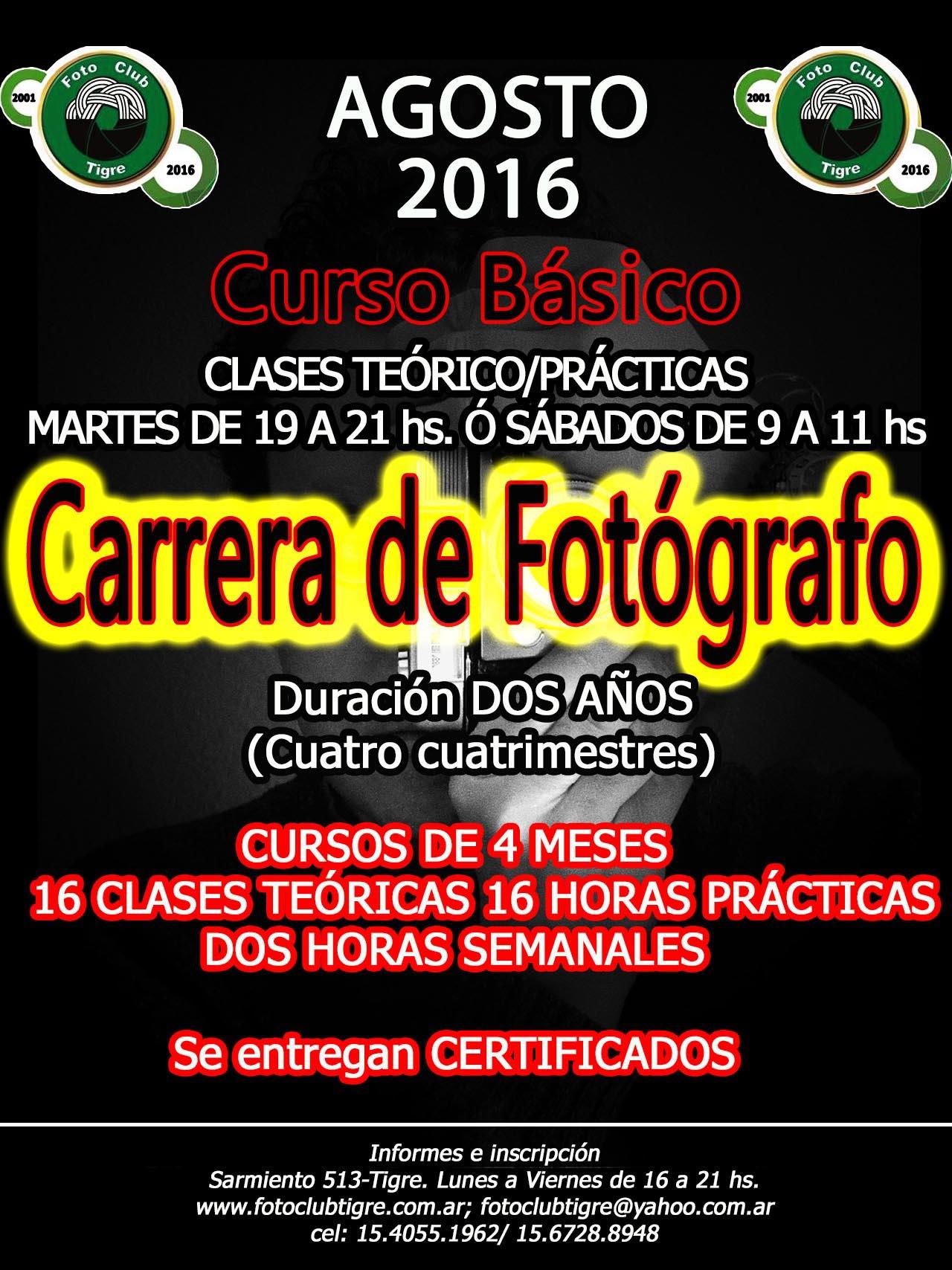 Inscripción Agosto 2016 - Cursos y Carrera de Fotografía.