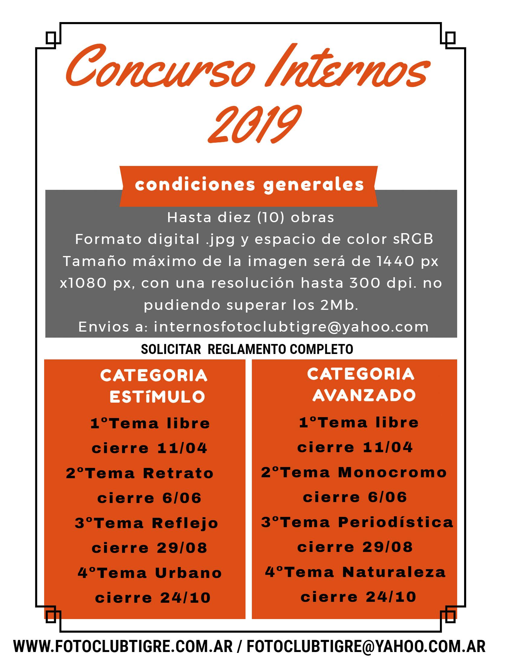 Concurso Internos 2019 - Cronograma, temas y reglamento..