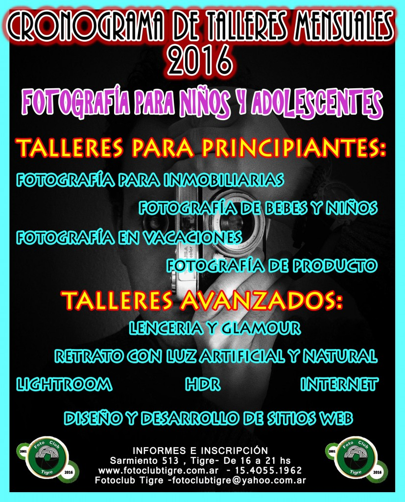 CRONOGRAMA COMPLETO TALLERES MENSUALES 2016
