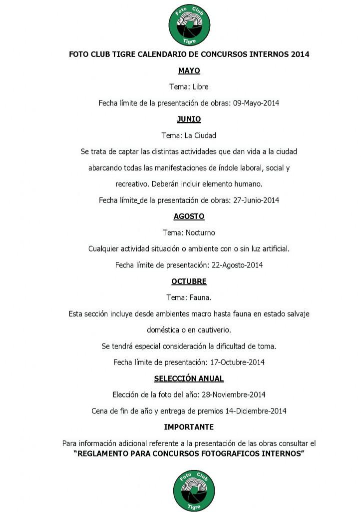Calendario concursos internos 2014