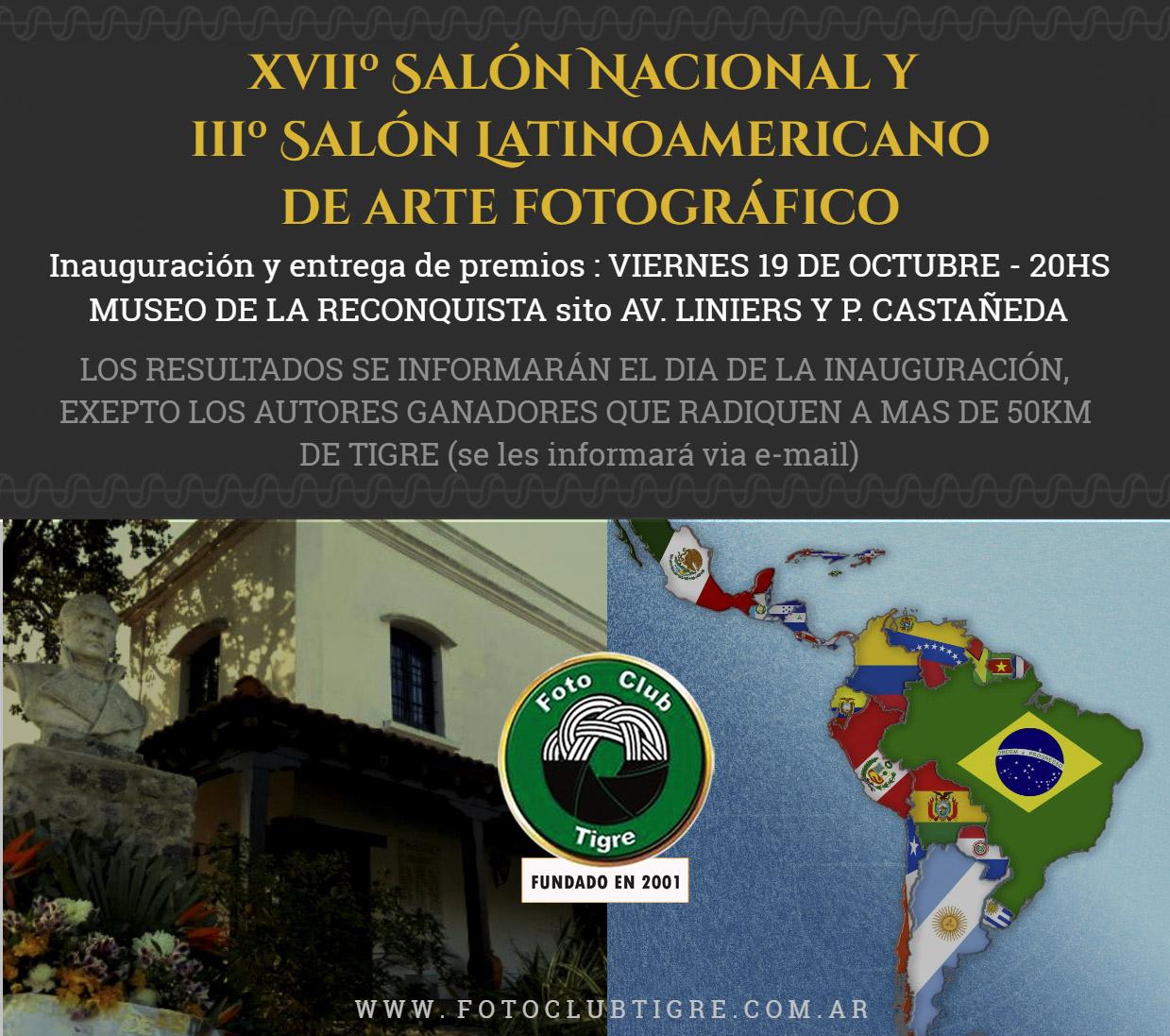 IIIº Salón LATINOAMERICANO y XVIIº Salón NACIONAL de ARTE FOTOGRÁFICO. FOTO CLUB TIGRE ARGENTINA 2018