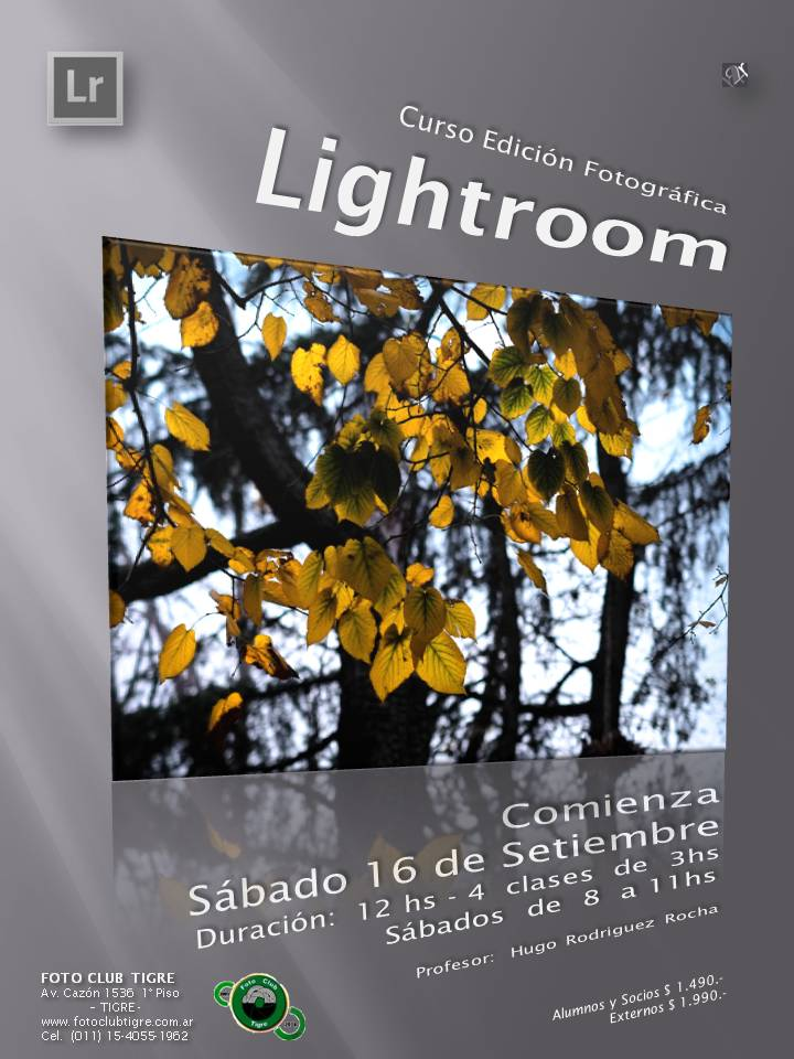 Flyer Curso Lightroom - Foto Club Tigre - 2do semestre 2017