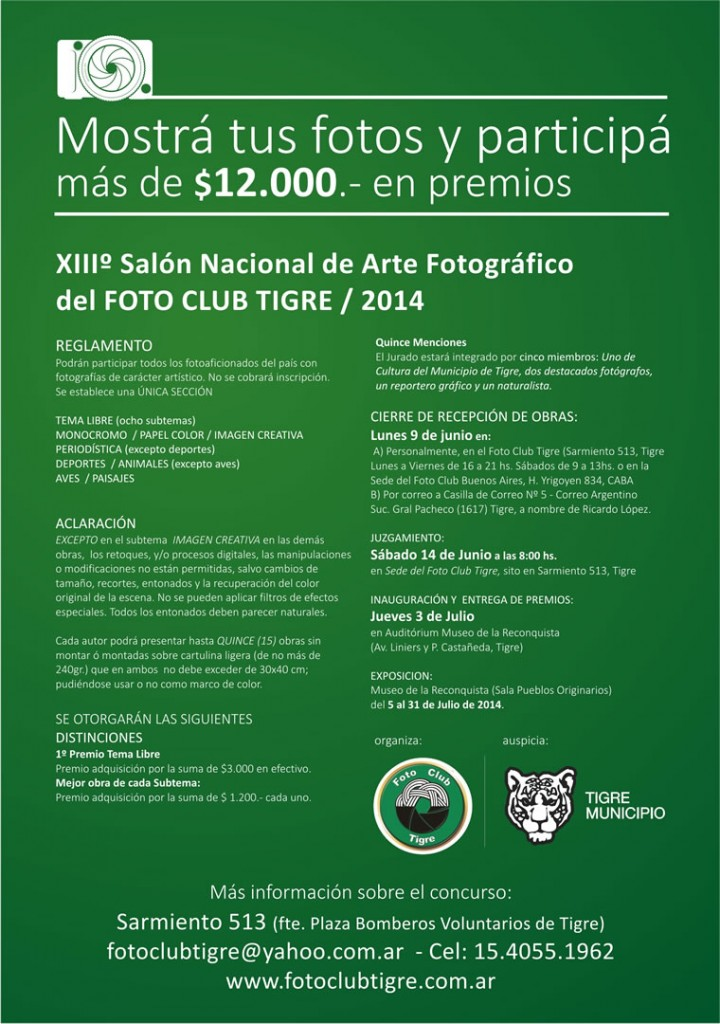Foto Club Tigre Salon Nacional XIII FONDO COLOR