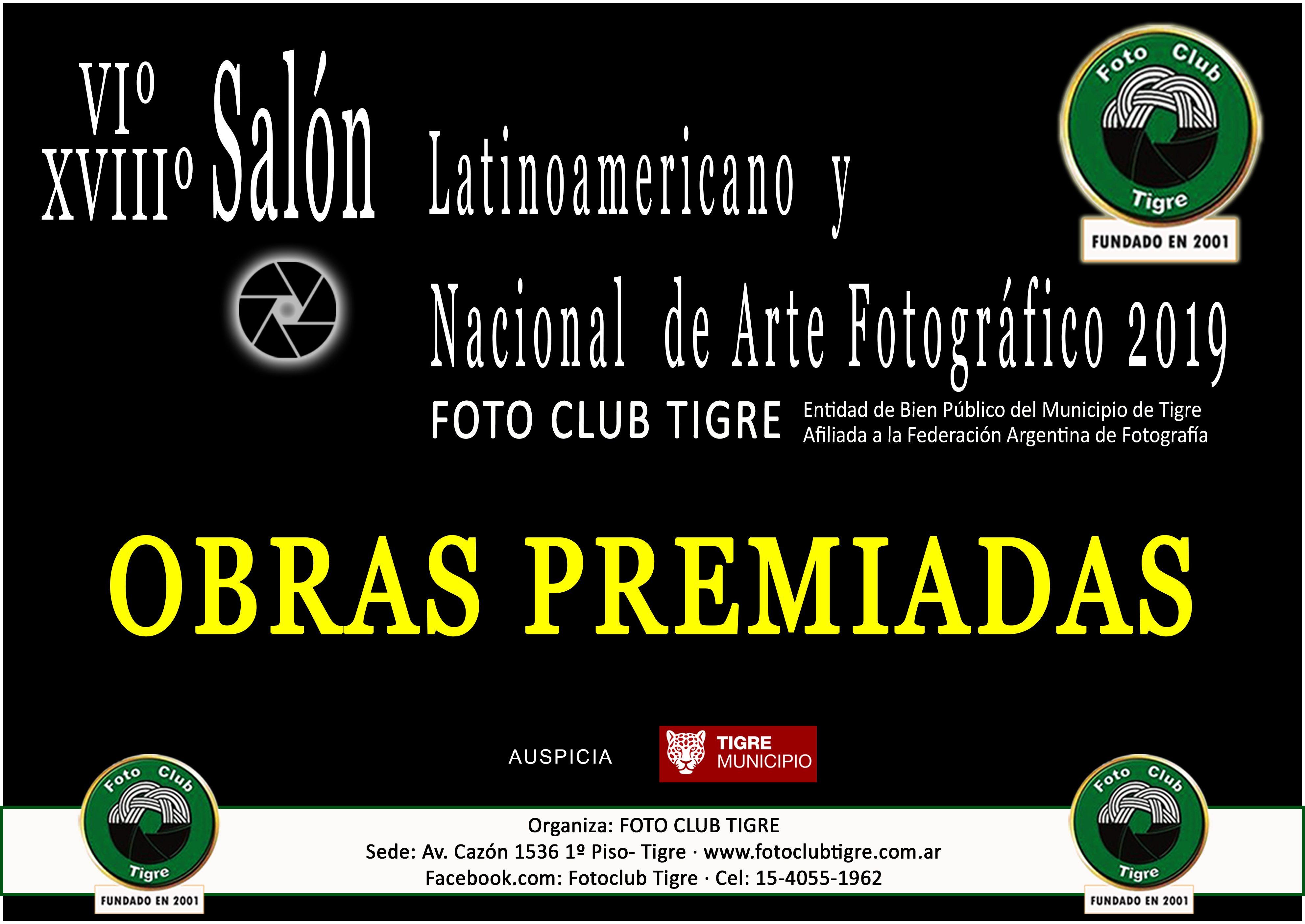Premios del VIº Salón Latinoameriano y XVIIIº Salón Nacional de Arte Fotográfico del Fotoclub Tigre 2019
